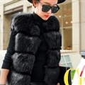 Cheap Classic Elegant Faux Fox Fur Vest Fashion Women Overcoat - Black