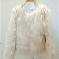 Cheap Cool Faux Fox Fur Overcoat Fashion Women Coat - Beige