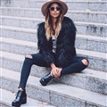Cheap Cool Faux Fox Fur Overcoat Fashion Women Coat - Black