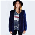 Cheap Cool Faux Fox Fur Overcoat Fashion Women Coat - Blue
