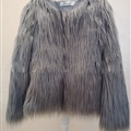 Cheap Cool Faux Fox Fur Overcoat Fashion Women Coat - Gray