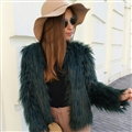 Cheap Cool Faux Fox Fur Overcoat Fashion Women Coat - Green