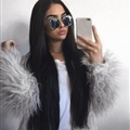 Cheap Cool Faux Fox Fur Overcoat Fashion Women Coat - Grey