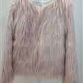 Cheap Cool Faux Fox Fur Overcoat Fashion Women Coat - Khaki