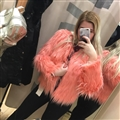 Cheap Cool Faux Fox Fur Overcoat Fashion Women Coat - Pink 02