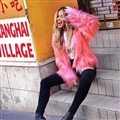 Cheap Cool Faux Fox Fur Overcoat Fashion Women Coat - Pink