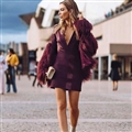 Cheap Cool Faux Fox Fur Overcoat Fashion Women Coat - Red