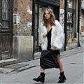 Cheap Cool Faux Fox Fur Overcoat Fashion Women Coat - White