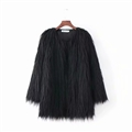 Cheap Cool Faux Fur Overcoat Fashion Women Coat - Black