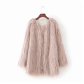Cheap Cool Faux Fur Overcoat Fashion Women Coat - Pink