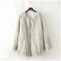 Cheap Cool Faux Fur Overcoat Fashion Women Coat - White