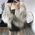 Cheap Pretty Faux Fox Fur Overcoat Fashion Women Coat - Gray