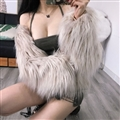 Cheap Pretty Faux Fox Fur Overcoat Fashion Women Coat - White