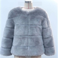 Cheap Warm Faux Fox Fur Overcoat Fashion Women Coat - Blue