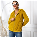 Cheap Warm Faux Rabbit Fur Overcoat Fashion Women Coat - Yellow