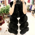 Cheap Winter Diamond Faux Fox Fur Vest Fashion Women Waistcoat - Black