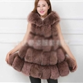Cheap Winter Good Faux Fox Fur Vest Fashion Women Waistcoat - Reddish Brown