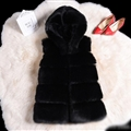 Good Classic Furry Faux Fox Fur Vest Fashion Women Overcoat - Black