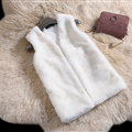 Good Cute Elegant Faux Fox Fur Vest Fashion Women Overcoat - White