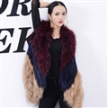 Good Warm Temperament Real Fox Fur Vests Women Overcoat - Red Blue