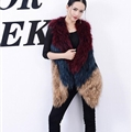 Good Warm Temperament Real Fox Fur Vests Women Overcoat - Red Green