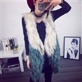 Good Warm Temperament Real Fox Fur Vests Women Overcoat - White Green