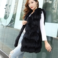 Popular Winter Furry Real Fox Fur Vest Fashion Women Waistcoat - Black