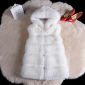 Pretty Cute Elegant Faux Lady Fur Vest Fashion Women Overcoat - White
