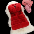 Unique Cute Elegant Faux Fox Fur Vest Fashion Women Overcoat - Red