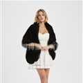 Wholesale Warm Faux Fox Fur Overcoat Fashion Women Coat - Black
