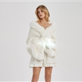 Wholesale Warm Faux Fox Fur Overcoat Fashion Women Coat - White